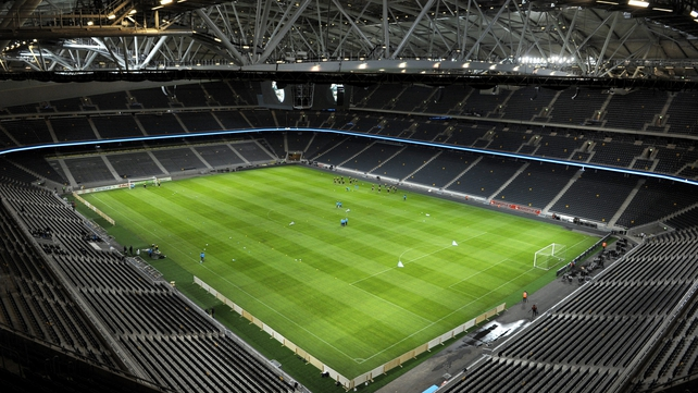The roof was closed at the Friends Arena tonight