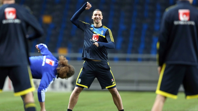 Zlatan Ibrahimovic training in the Friends Arena, Stockholm ahead of the match