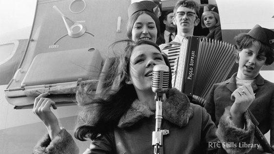 Dana returns home having won the Eurovision Song Contest for Ireland for the first time in 1970.