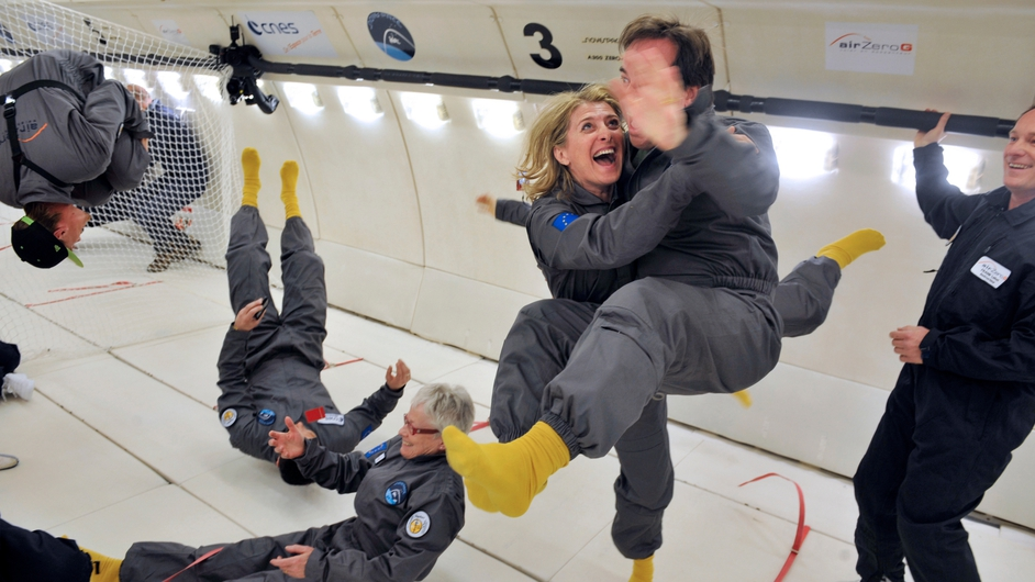 Civilian passengers of the Airbus A330 Zero-G, who are not astronauts nor scientists, enjoy the weightlessness, during the first zero gravity flight for paying passengers in Europe.