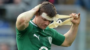 Ireland's centre Brian O'Driscoll reacts after the Six Nations match between Italy and Ireland at the Olympic Stadium in Rome - possibly his last game, and one in which he was sin-binned