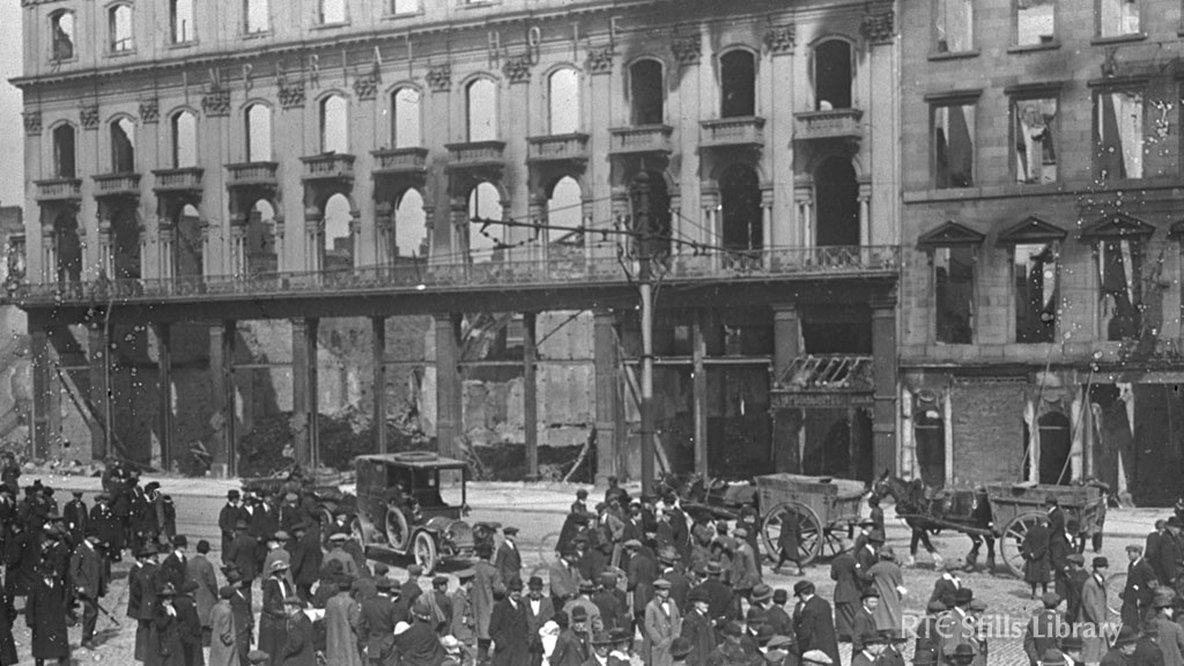 Ruins of the Imperial Hotel on Dublin's Lower Sackville Street (now Lower O'Connell Street), after the 1916 Rising.