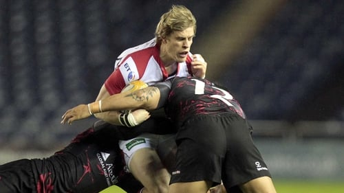 Edinburgh's Sean Cox and Ben Atiga tackle Ulster's Andrew Trimble