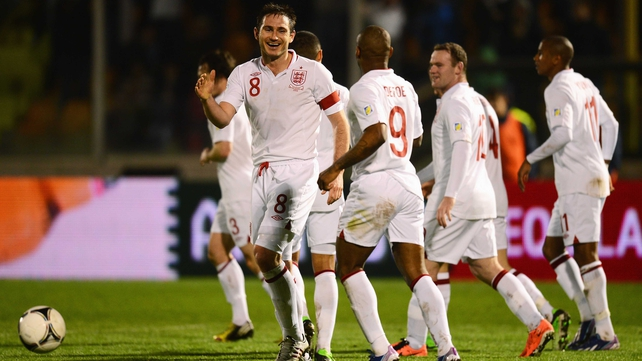 Frank Lampard celebrates his goal as England hit eight past San Marino