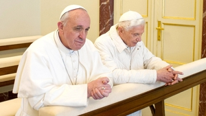 Francis prays with his predecessor at the papal summer residence of Castel Gandolfo