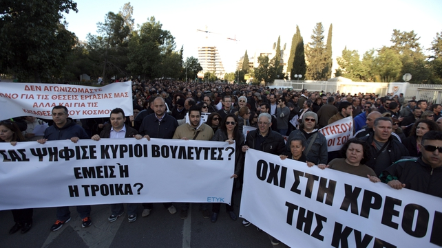Several thousand bank workers have marched through the centre of Nicosia