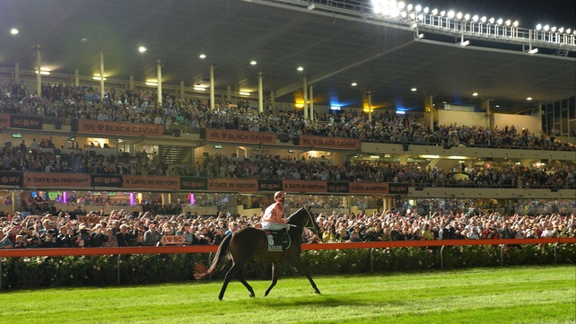 Black Caviar walks back past the stands last Friday after securing her 14th Group 1 success