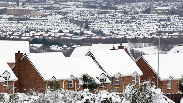 Rooftops covered in snow in Belfast