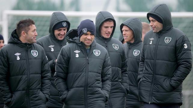 Robbie Keane (l) shares a joke with John O'Shea, Jonathan Walters, Ciaran Clark, Paul Green and David Forde
