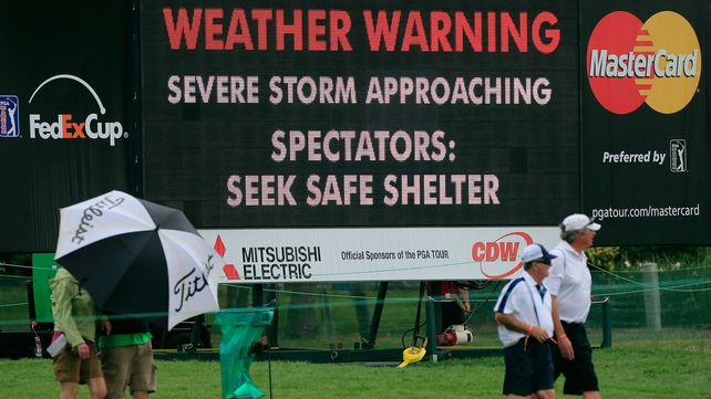 Stormy weather stopped play at Bay Hill on Sunday