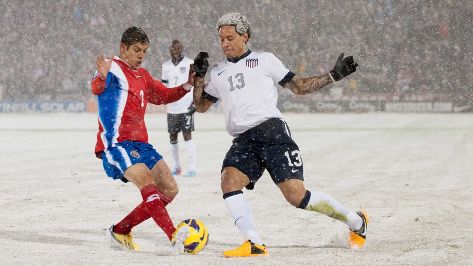 The heavy snowfall played havoc with Jermaine Jones' mane
