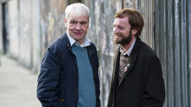 The real Terri Hooley with Richard Dormer