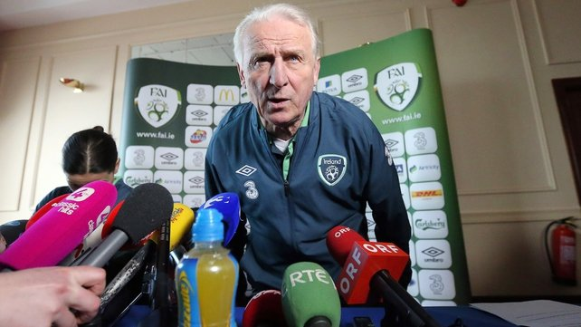 Giovanni Trapattoni at this afternoon's news conference