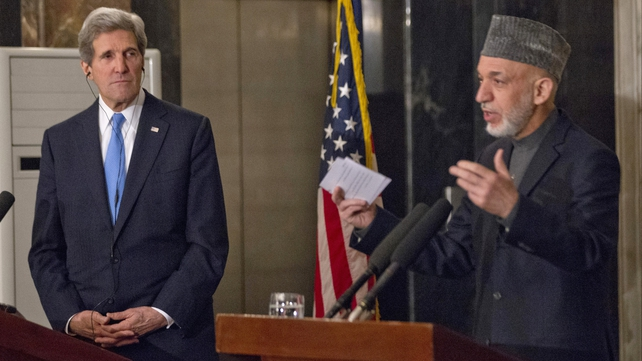 US Secretary of State John Kerry held a press conference with President Hamid Karzai in Kabul
