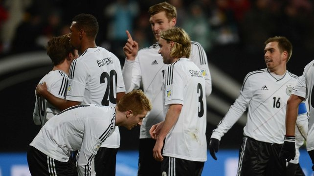 Germany players celebrate another goal