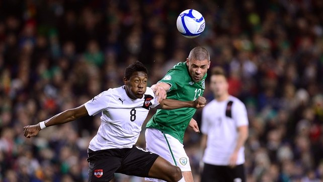 Jon Walters and David Alaba battle for possession during the Aviva Stadium encounter