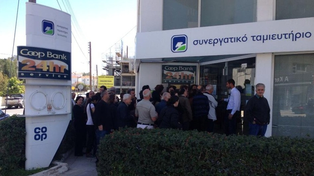 Queues formed outside a number of banks in Nicosia this morning (Pic: Will Goodbody)