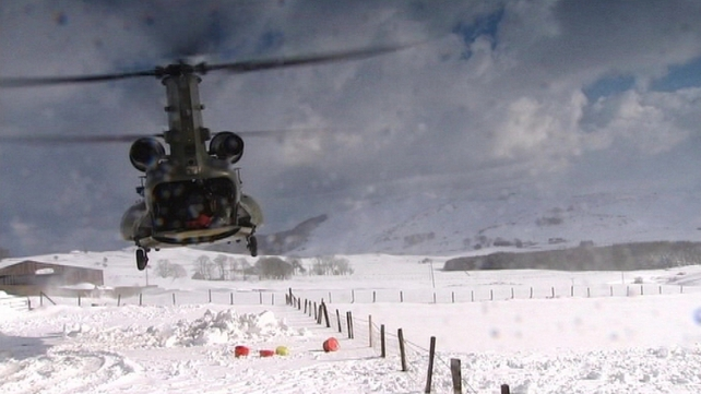 The helicopters dropped fodder and provisions in Co Down around Dromara, Castlewellan and Slieve Croob