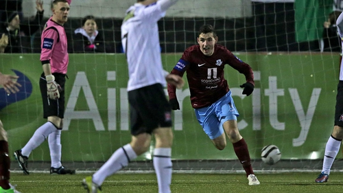 Graham Rusk celebrates Drogheda's opening goal at Oriel Park