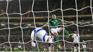 Jonathan Walters scores Ireland's first goal in their 2-2 draw with Austria at Lansdowne Road