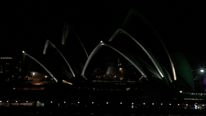 Sydney Opera House after the lights were switched to 'GreenPower' and glowed dark green to recognise Earth Hour