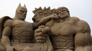 Batman and The Incredible Hulk feature in a sand sculpture festival in Weston-super-Mare
