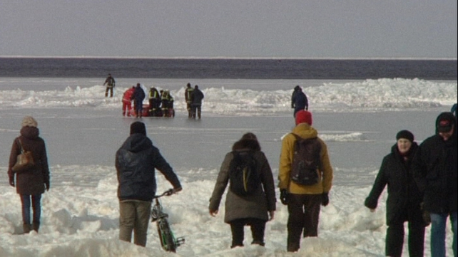 43 people were taken off the ice near the seaside resort of Jurmala
