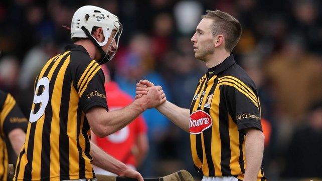 Michael Fennelly and Conor Fogarty celebrate yesterday's hard-fought victory