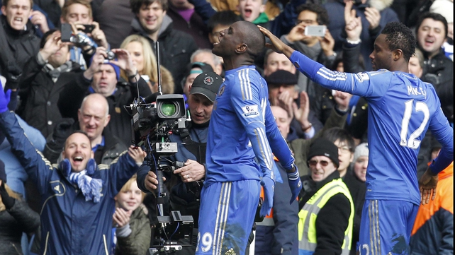 Demba Ba celebrates in front of the home fans following his winner