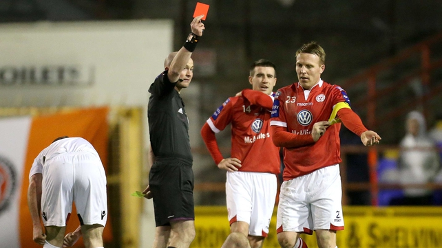 Shelbourne captain Ian Ryan was sent off after picking up a second yellow at Tolka Park