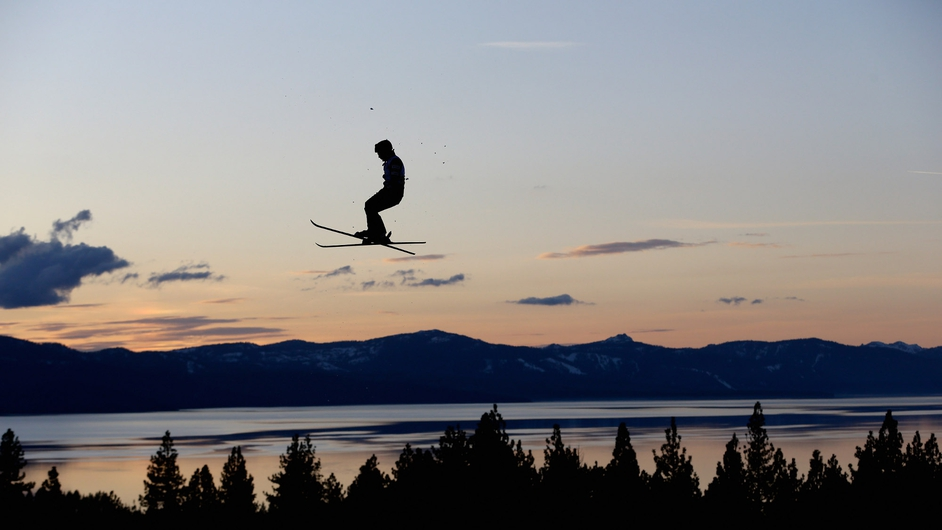A member of the US Freestyle Aerial practises for the US National Championship at Heavenly Resort in California