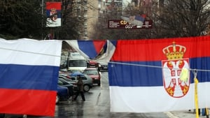 Serbian flags fly in Mitrovica, northern Kosovo