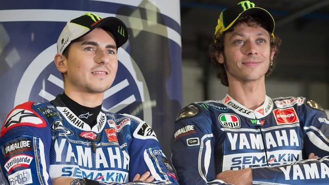 Yamaha riders Jorge Lorenzo and Valentino Rossi