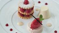 The Raspberry Plate - This is a signature dessert that has been on the menu for years but is constantly evolving. It was originally given to me by my good friend Neil McFadden. I just love the combination of shortcake and cold buttermilk pudding, and it's a great dessert for entertaining, as there is a lot that can be done in advance.
