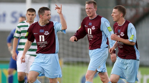 Drogheda United's Phillip Hand celebrates during last year's final