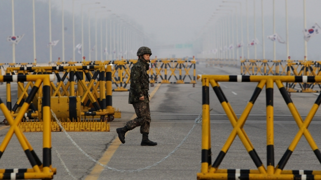 A South Korean soldier stands at the checkpoint in Paju, South Korea