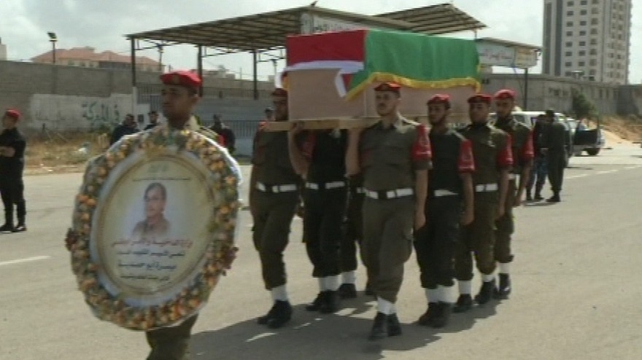 Palestinian officials gave Maysara Abu Hamdeya full military honours at a funeral in Hebron