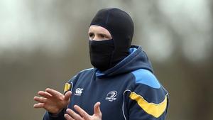 Shane Jennings keeps warm at Leinster training
