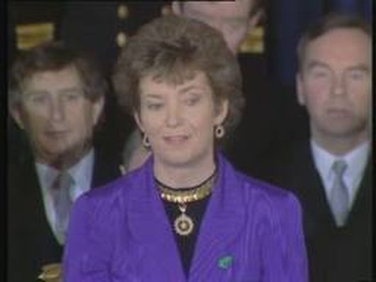 Mary Robinson talking to John Bowman