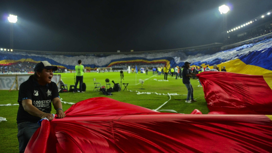 Fans of Colombia's Millonarios reveal a giant flag before their 2013 Copa Libertadores football match against Brazil's Corinthians in Bogota