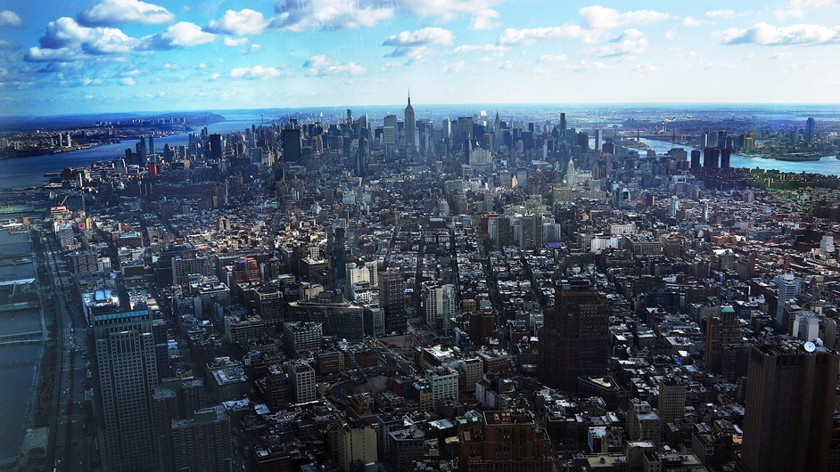 A view of Manhattan from the 100th floor of One World Trade Center at the Ground Zero site