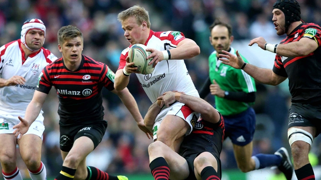 Luke Marshall on the charge for the Ulster men but they were outplayed by their hosts