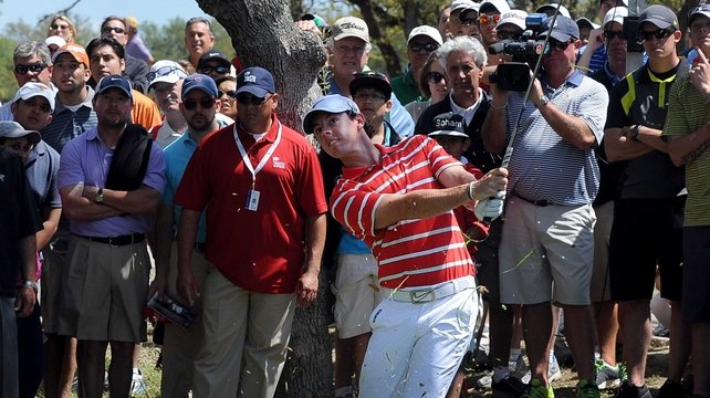 Rory McIlroy shot a 71 to finish four off the lead of Billy Horschel
