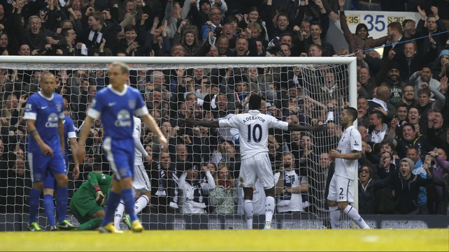 Emmanuel Adebayor opens the scoring for Tottenham