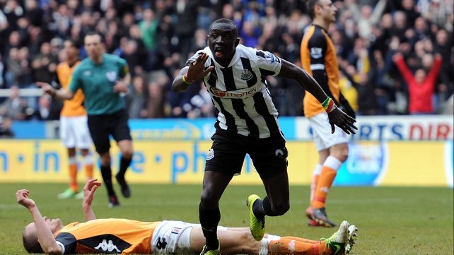 Papiss Cisse celebrates the winner at St James' Park
