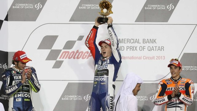 Jorge Lorenzo takes the plaudits on the winners podium