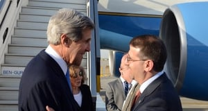 US Secretary of State greeted by the US ambassador to Israel