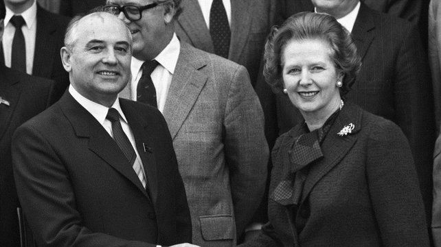 Mikhail Gorbachev shakes hands with Mrs Thatcher at Chequers in 1984