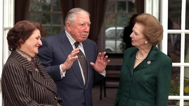 Chile's former dictator Gen Augusto Pinochet and his wife being visited by Margaret Thatcher at their temporary residence while under house arrest at in Surrey in 1999