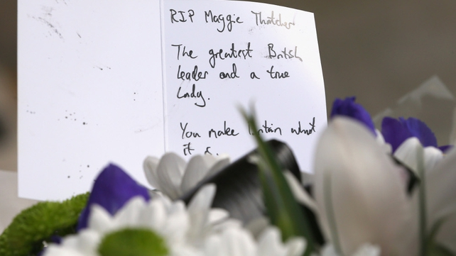 Floral tribute left outside the residence of Baroness Thatcher in Chester Square